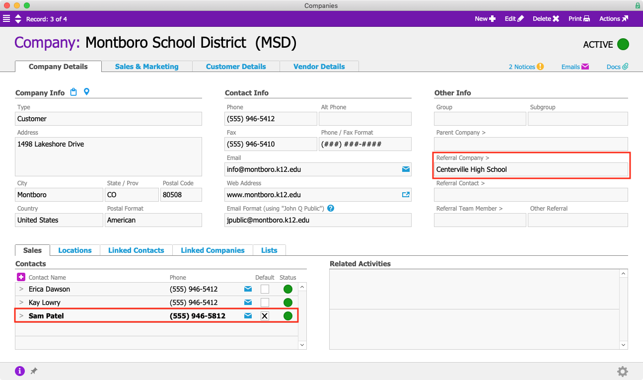 MSD Company Contacts